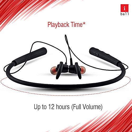 iBall EarWear Base BT 5.0 Neckband Earphone with Mic and 12 Hours Battery Life (Black) Image 5