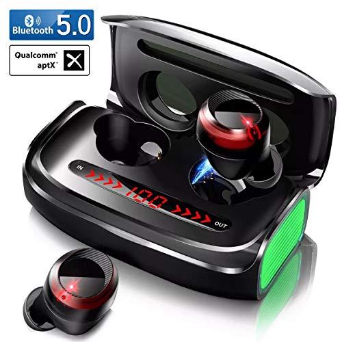 Écouteurs Bluetooth sans Fil 5.0, Oreillette Bluetooth Écouteur Sport Stéréo Réduction du Bruit Touch-Control 170H Playtime Boîte de Charge 3000mAh avec Affichage LED pour Tous Smartphones Tablettes