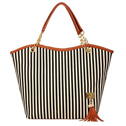 GSPStyle Damen Canvas Handtasche Streifen Schultertasche Quaste Decor Totes Shopper Schwarz