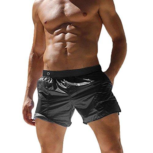 Huateng Herren Shorts Badeanzüge Slip Strand Badehose Elastic Transparent Slip Surfbrett Plus Größe (Herren Shorts Transparent)