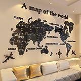 Weltkarte Wandaufkleber acryl 3D Wallpaper aufkleber wohnzimmer sofa TV hintergrund dekoration wanddekoration, 023 world puzzle 2- alle schwarz, groß