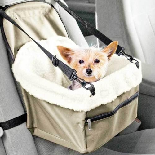 Transportín de coche con asiento para perros y gatos, cesta con cinturón de seguridad