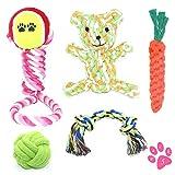 Himeland Hundespielzeug 5-teiliges Set (Interaktives Spielzeug) | Ideal für kleine bis mittelgroße Hunde und Welpen | Aus natürlichen hochwertigen Baumwollfasern