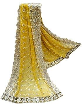 Indio Étnico Dupatta Georgette Tela Mujeres Hijab Diseñador Mantón Amarillo Bollywood Vendimia Larga Estola