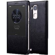 Prevoa ® 丨Huawei Mate 7 Funda - Flip PU S- View Funda Cover Case para para Huawei Ascend Mate 7 6.0 Pulgadas Smartphone - Negro