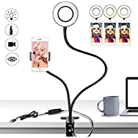 Buluri Selfie Ring Light con Soporte para Teléfono Móvil, 3 modos de luz y 10 niveles de brillo LED Ring Light para Live Stream,Youtube,Facebook, Samsung,iPhone 6/ 7/ 8Plus iPhone X,Tableta (Negro)