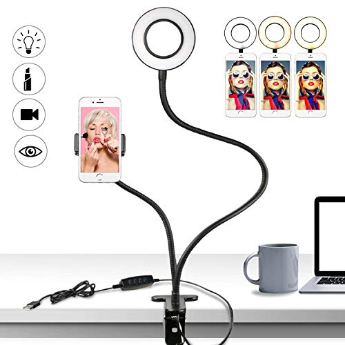 Buluri Led Selfie Licht mit Handy Halter, 3 Leuchtmodi und 10 Helligkeiten Stufen LED Ringlicht für Live Stream, Youtube, Facebook, Samsung, iPhone 7/ 8 / iPhone X, Tablet, Laptop (Schwarz)
