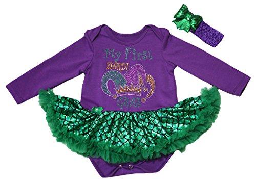 Petitebelle First Mardi Gras Hat Purple L/s Bodysuit Green Mermaid Tutu Nb-18m (12-18 (Gras Mardi Hut)