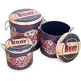 "Set de 3 Cajas Decorativas Retro ""Beer"" Muebles Auxiliares. 42 x 40 x 40 cm."