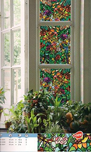Klebefolie Sichtschutz Tulia Tiffany Glas Blumen Dekor 90 breit Meterware