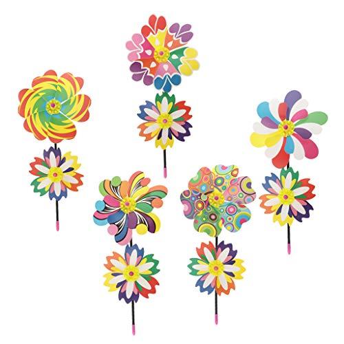 Baoblaze 5 Stück Windrad Blume Windmühle Windrad Kinder Spielzeug Rasen Dekoration - B   Kinderzimmer > Kinderzimmerdekoration   Kunststoff   Baoblaze