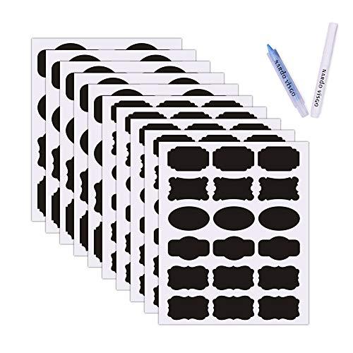 Nardo Visgo Tafel Etiketten - 130 Stücke wiederverwendbare Tafel Aufkleber mit 2 abwischbaren Kreidemarker für Etikettieren der gläser, Behälter und Organisieren Ihres Haus, Küche & Büro (Schwarz)