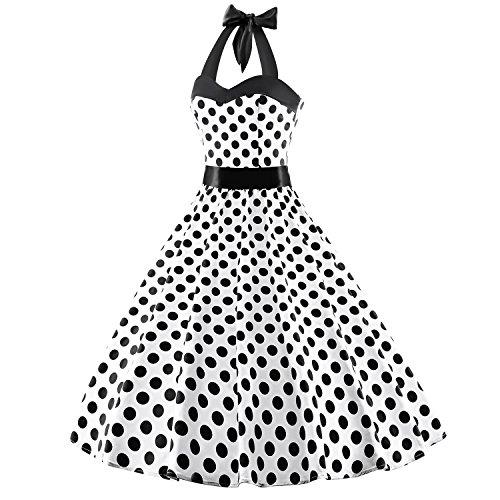 LUOUSE Damen Kleid Neckholder 50er Blumen Schaukel Pinup Rockabilly Vintage Kleid V064-Schwarz