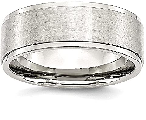 Stainless Steel Ridged Edge 8mm Brushed And Polished Wedding Ring Band