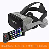 HUIJIN1 VR-Headset, Virtual Reality Headset für iPhone Mit Remote Controller & Android, Ihren besten Mobile Games 360 Movies Smartphone & Comfortable New Goggles,e