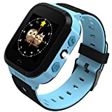 Qulista Enfant Montre Connecteé Portable Écran Tactile 1.6 Pouce Anti-Perdue GPS + Station de Base + WiFi Smartwatch Nouvelle Version Poignet Podomètre Intelligente Bon Cadeau (Bleu(Version Normale))...