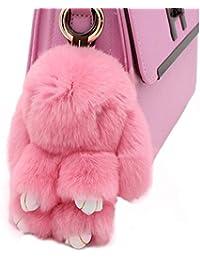 80Store Plus nouveau cadeau de Noël fausse fourrure mignonne mini lapin poupée porte-clés porte-clés de voiture femmes sac de charme sac à main pendentif 13cm