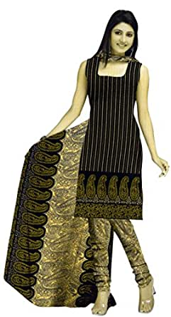 Araham Womens Synthetic Unstitched Salwar Suit Dress Material (Gm0321 _Black _Free Size)