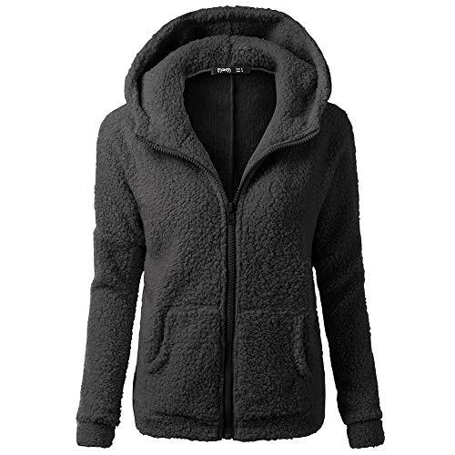 Lazzboy Womens Coat Jacket Sweatershirt Hoodie Lambs Wool Solid Pocket Velvet Fleece Long Sleeve Hooded Overcoat Outerwear Oversized Plus Size,S-5XL