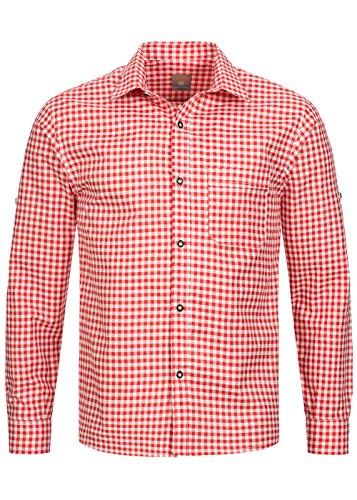 Herren Männer Trachtenhemd kariert in 6 verschiedenen Farben | Slim fit | Krempelärmel | Oktoberfest Hemd | 100% Baumwolle Kirsche (Rot)