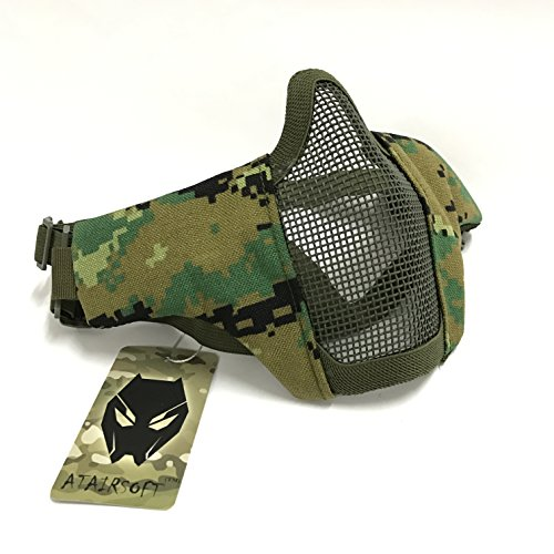 Tactical Airsoft CS Schutzkleidung Strike Stahl Halbmaske mit 2-Gürtel für Jagd Paintboll WorldShopping4U (Woodland Digital (AOR2))