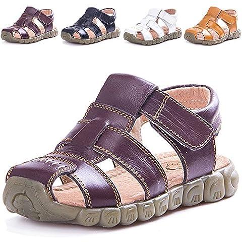 LONSOEN Leather Outdoor Sport Sandals,Fisherman Sandals for Boys(Toddler/Little Kids),Brown,5 UK