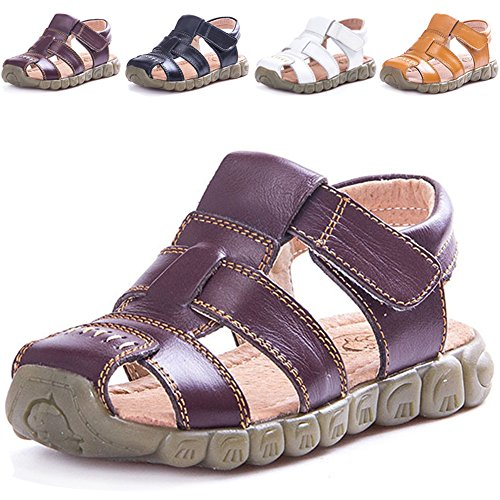 LONSOEN Leather Outdoor Sport Sandals,Fisherman Sandals for Boys(Toddler/Little Kids),Brown,8 UK Child
