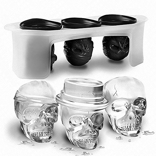 3D Skull Ice Tablett, knowless Ice Cube Formen, flexible Eiswürfelform, Silikon, Kühlung für rot Wein, Wodka, Whisky, Whisky, Softdrinks (Set von 3 verschiedenen Totenkopf - Wodka Halloween