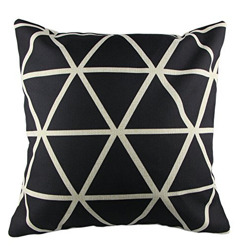 hidoon® P52Baumwolle Leinen Überwurf Kissen Fall dekorative Kissenhülle Kissenbezug Schwarz & Weiß Geometrie Polyester Square 45,7cm