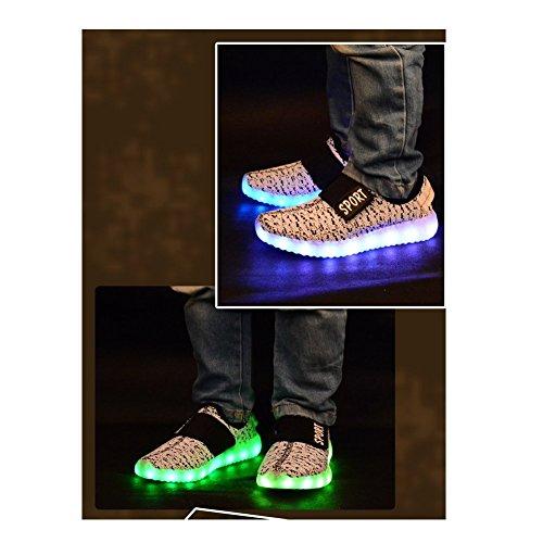 Aidonger Boy Girl Unisex 7 Farbe Farbwechsel USB Aufladen LED Leuchtend High-top Sport Schuhe Hoch Sneaker Turnschuhe Weiß