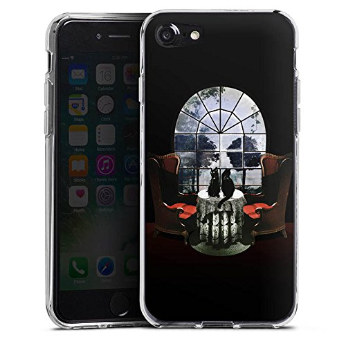 Apple iPhone 8 Hülle Case Handyhülle Raum Room Skull Totenkopf Silikon Case transparent