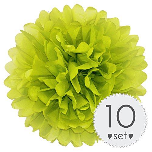 Simplydeko PomPoms Apfel-Grün - Pom Pom Deko zur Hochzeit oder Party - 10er Set handgefertigte Seidenpapier Pompons (Apfel-Grün, 40 cm)