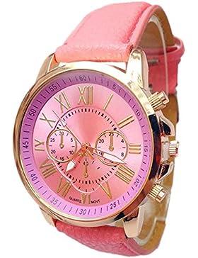 Watches Loveso Damen Frauen Römische Ziffern Lederband Analoge Quarz Armbanduhr (Rosa)