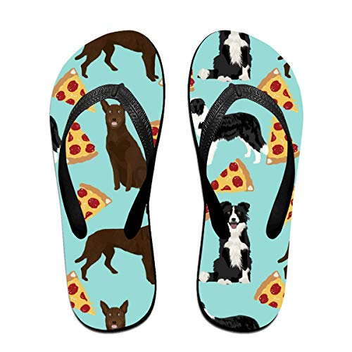 Australian Kelpie and Border Collies Pizza Cute Dogs Cute Pizzass Australian Kelpies Cute Dogs Flip Flops Rubber Thong Sandal Beach Slipper for Women/Men L
