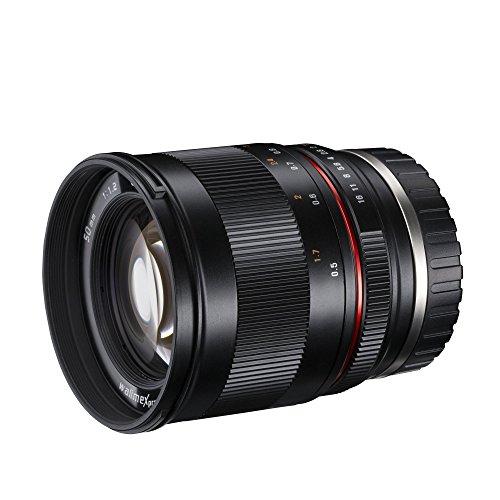 Walimex Pro 50mm 1:1,2 CSC Objektiv für Sony E-Mount (manueller Fokus, für APS-C Sensor gerechnet, IF, Filterdurchmesser 77mm, mit abnehmbarer Gegenlichtblende)