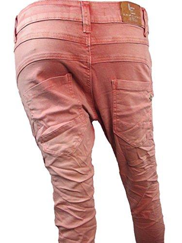 ... Zip Denim Stretch Baggy-Jeans boyfriend schräge Naht 4 Knöpfe offene  Knopfleiste Sommer Pink