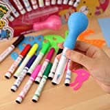 #8: Gifts Online Set of 12 Magic Spray Blow Marker Pens (Assorted Colors)
