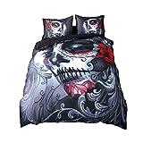 3 Pcs Imprimé Housse de couette Définit Joker Parure de lit Halloween tête de mort avec housse de couette avec taie d'oreiller, Multiplicate, 200*230cm for 1.5M Bed
