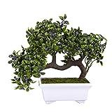 Juvale Künstlicher Bonsai Baum - Gefälschte Indoor Ficus Bonsai Baum Anlage für Dekoration, Desktop Display, Zen Garten Dekor, Grün - 10 x 6 x 8 Inche