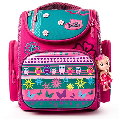 Ergonomischer Schulranzen Mädchen 1-4.Klasse mit Babypuppe,Schulranzen Mädchen,Mädchen Schulrucksack für die Grundschule,Mädchen Geschenk
