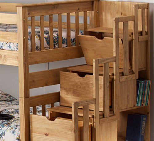 Happy Beds Mission Waxed Wooden Staircase Storage Bunk Bed Furniture Bedroom Frame 3' Single 90 x 190 cm