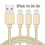 Quntis 3*(1m, 2m,3m) mit Nylon umflochtenes verwicklungssicheres USB Kabel Datenkabel Ladekabel Verbindungskabel für APPLE iphone 6 plus/6/6S/5S/ipad Mini/Air. Arbeitet mit neuesten iOS-Update (Gold)