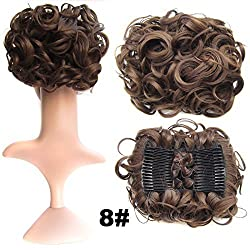 SWACC Short Messy Curly Dish Hair Bun Extension Easy Stretch hair Combs Clip in Ponytail Extension Scrunchie Chignon Tray Ponytail (Medium Ash Brown-8)