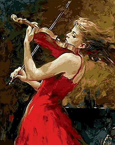 CoorArt Malen nach Zahlen Erwachsene Kinder, DIY Ölgemälde, Violine Mädchen - 40x50cm (Kind Größe Violine)