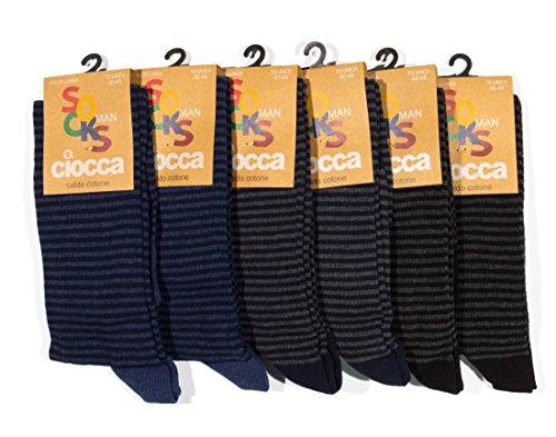 Calze uomo lunghe fantasia righe, Caldo cotone morbide e confortevoli - 6 Paia assortimento - Ciocca calze