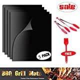 BBQ Grill Mat Set of 5 - Premium Kitchen BBQ Set Nonstick Reusable Grilling Mats Oven Liner Teflon BBQ Grill Mats Durable Heat Resistant BBQ Tools Set Including 2 Pack (9