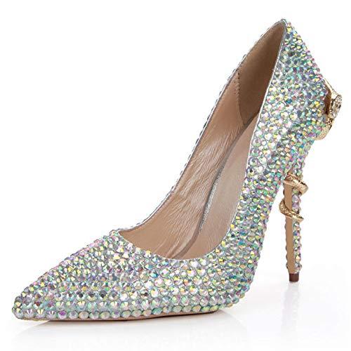 Damen High Heels Farbige Diamanten Spitz Schlange-förmigen Pumps Hochzeit Braut Kleid Abend Party Prom Stiletto Schuhe,Silver-EU:34/UK:2 (Designer-schuhe Schlange)