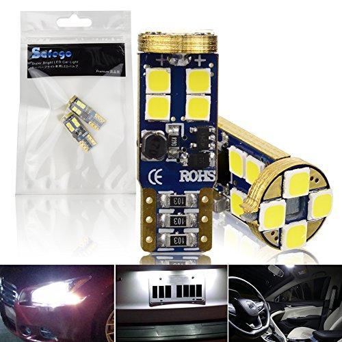 Safego 2x T10 W5W led 6000K 12 SMD 3030 LED Ampoule Feux Lumière Xenon Blanc Pour Voiture Lampe