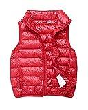 ZhuikunA Leichte Daunenweste Jungen Mädchen, Winddicht Packbar Im Freien Steppweste mit Taschen, Winddicht&Wasserdicht ärmellose Jacke Rot 120