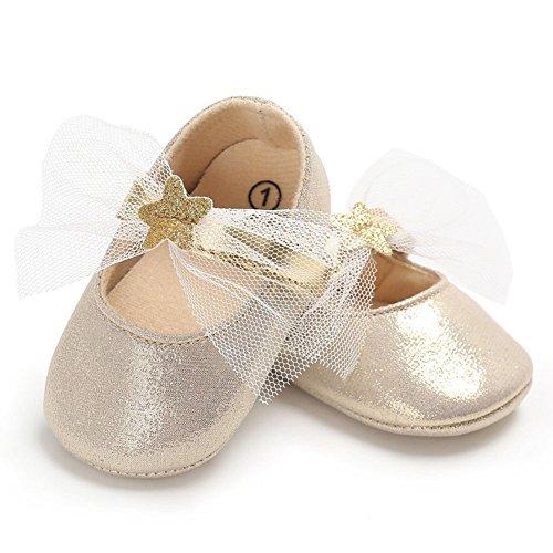 Juleya I pattini antisdrucciolevoli della principessa molle delle neonate appena nati oro 6-12M oro